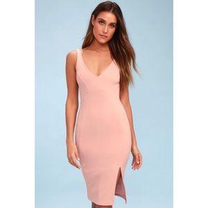Lulus Iconic Moment Blush Pink Bodycon Midi Dress